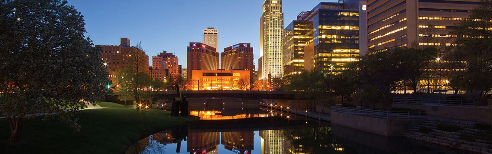 Omaha skyline at night