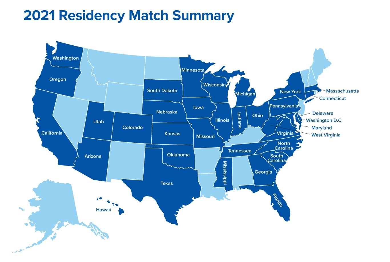 2021 Residency Match States