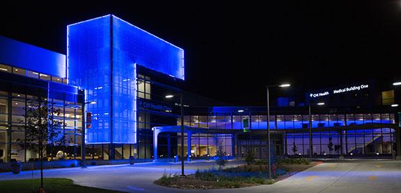 University Campus of CHI Health Creighton University Medical Center-Bergan Mercy at night
