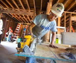 Resident or fellow at Habitat for Humanity site