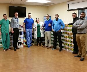 house staff at food drive