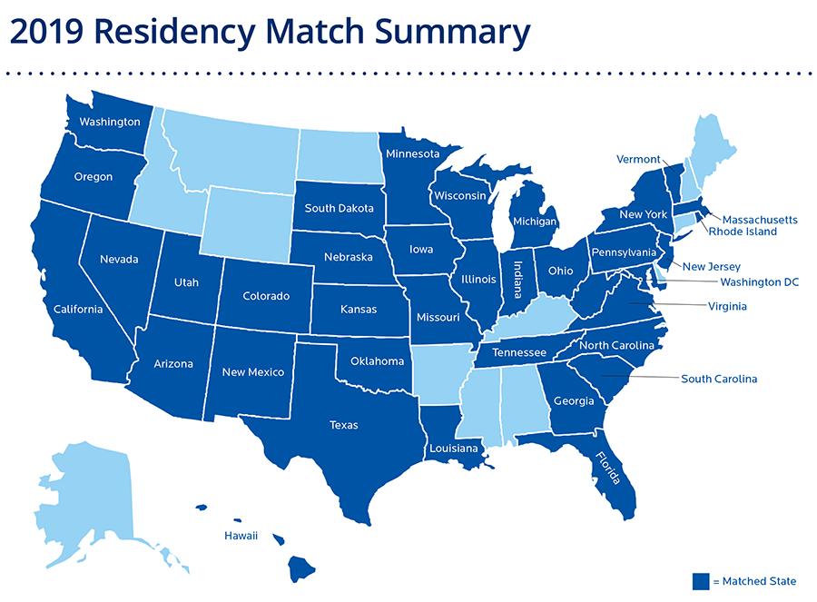 2019 Residency Match States