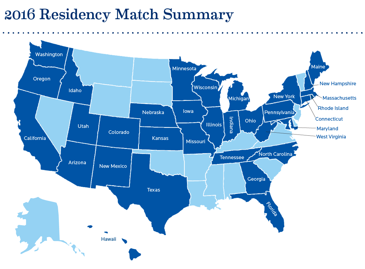 Map of all 32 states in which Creighton M4's matched into residency programs
