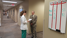 Doctors meeting in hall