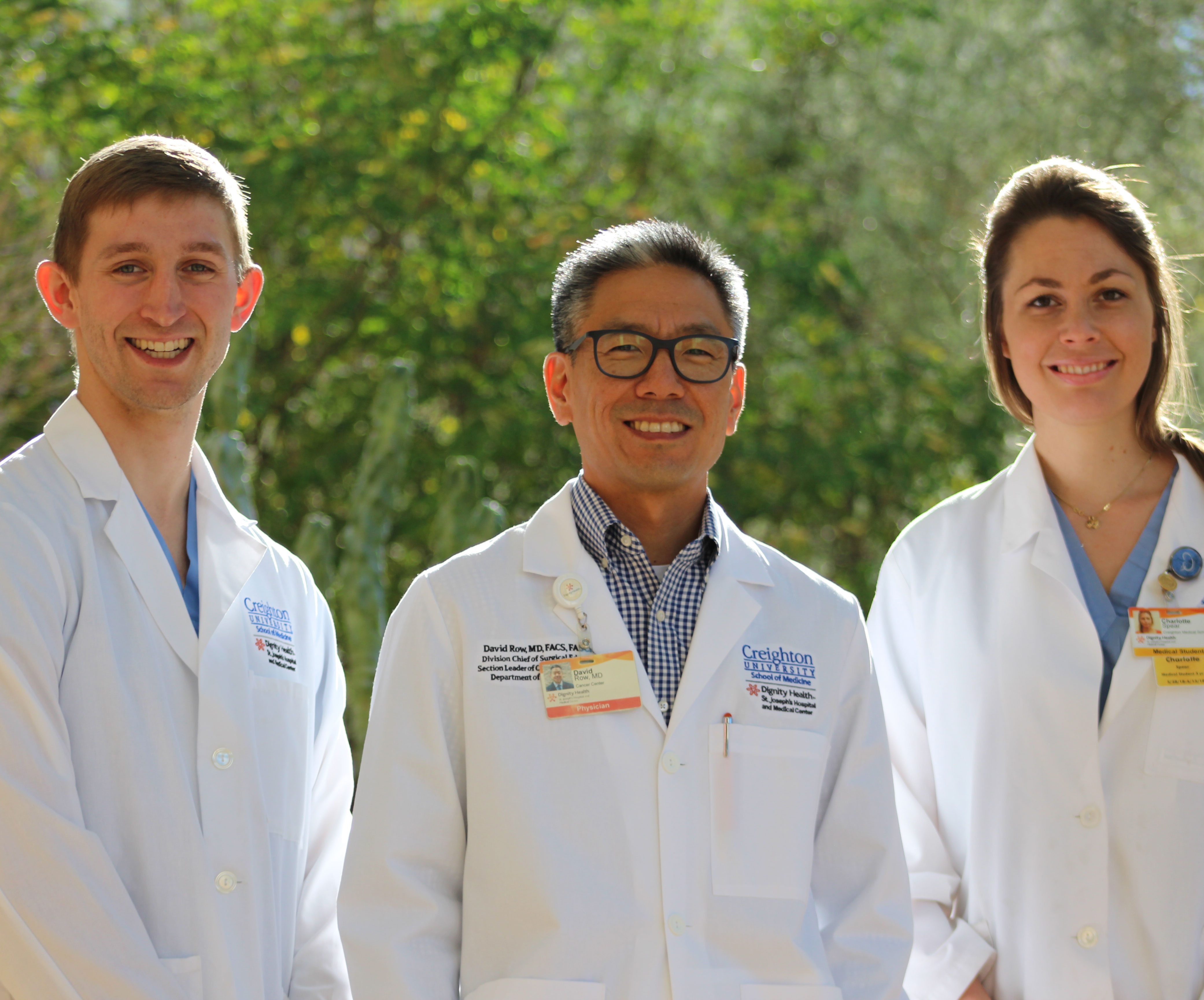 L to R: Patrick Isola, Creighton medical student, David Row, MD, Residency Program Director, and Charlotte Spear, Creighton medical student