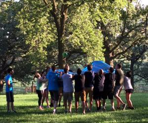 Medical students doing an outdoor exercise