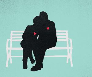 illustration of silhouettes of a couple on a bench with stylized hearts